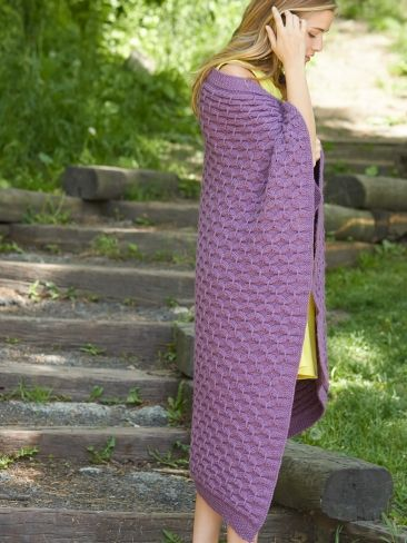 Free knitting pattern for Cushy Smocked Throw and Tea Cozy and more cable afghan knitting patterns