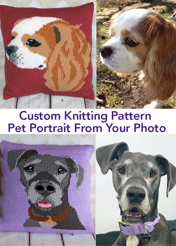 Custom Knitting Pattern PDF - Pet Portrait Designed From Your Own Photograph