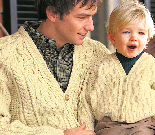 Free knitting pattern for Dad and Son matching cardigan sweaters