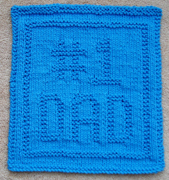 Free Knitting Pattern for Number 1 Dad Wash Cloth