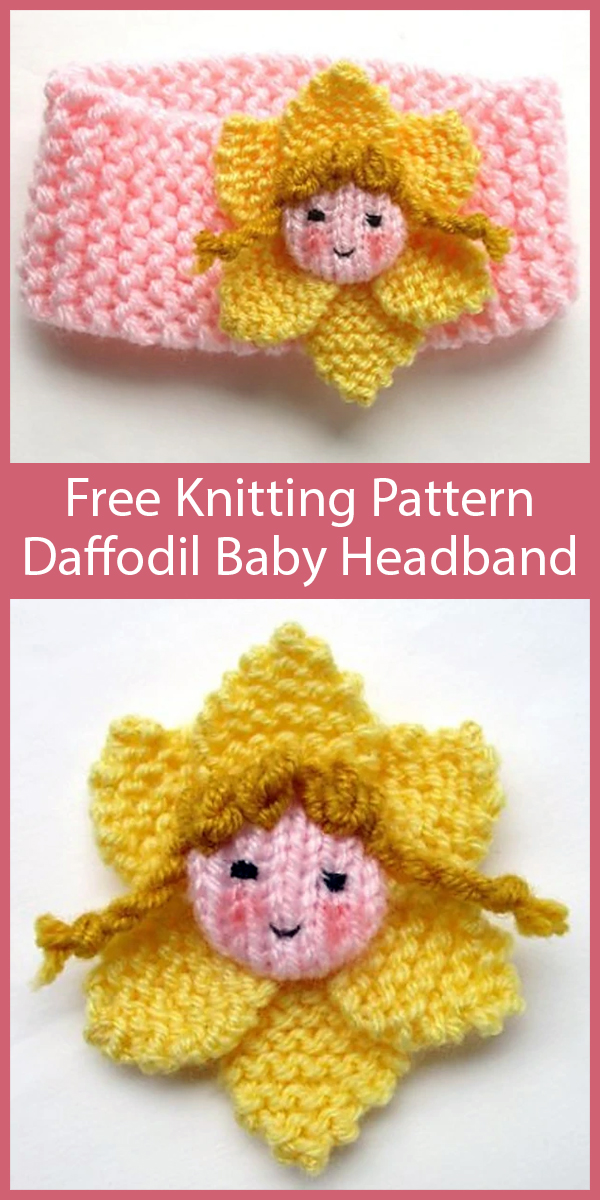Free Knitting Pattern for Daffodil Fairy Baby Headband