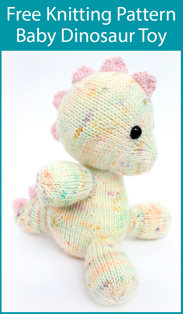 Free Knitting Pattern for Daisy the Baby Dino Toy, Knitted Dinosaur