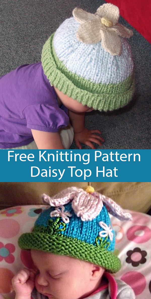 Free Knitting Pattern for Daisy Top Hat