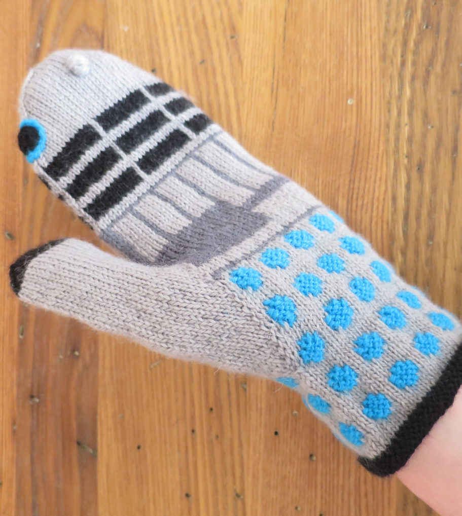 Free Knitting Pattern for Dalek Mittens