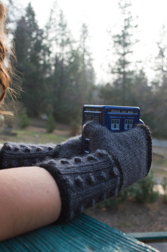 Pattern: Doctor Who Knit Fingerless Mitts; Dalek Fingerless Gloves, PDF file