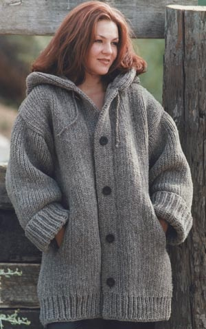 Danbury Hooded Sweater Jacket Free Knitting Pattern