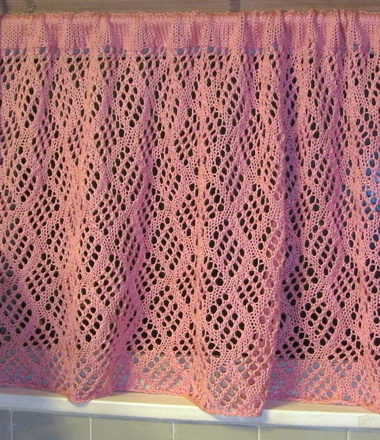 Free Knitting Pattern for Dappled Lace Café Curtain