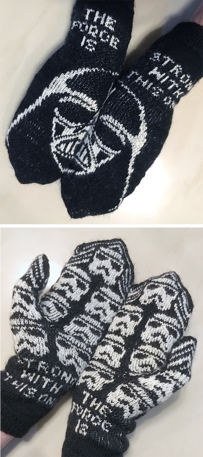 Free Knitting Pattern for Dark Side Mittens