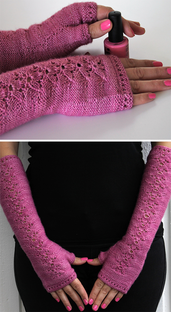 Free Knitting Pattern for 8 Row Darn Good & Pretty Fingerless Mitts
