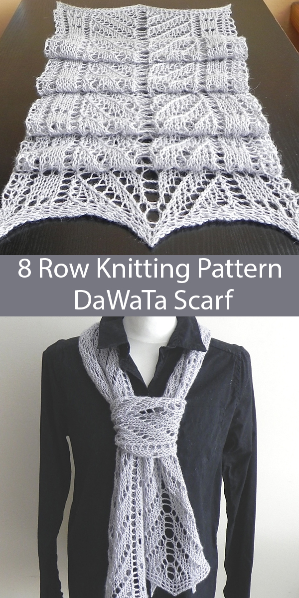 Knitting Pattern for 8 Row Repeat DaWaTa Scarf