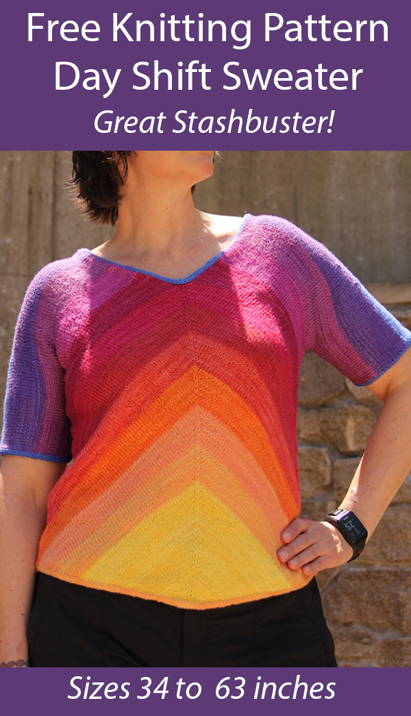 Free Knitting Pattern for Day Shift Sweater Stashbuster