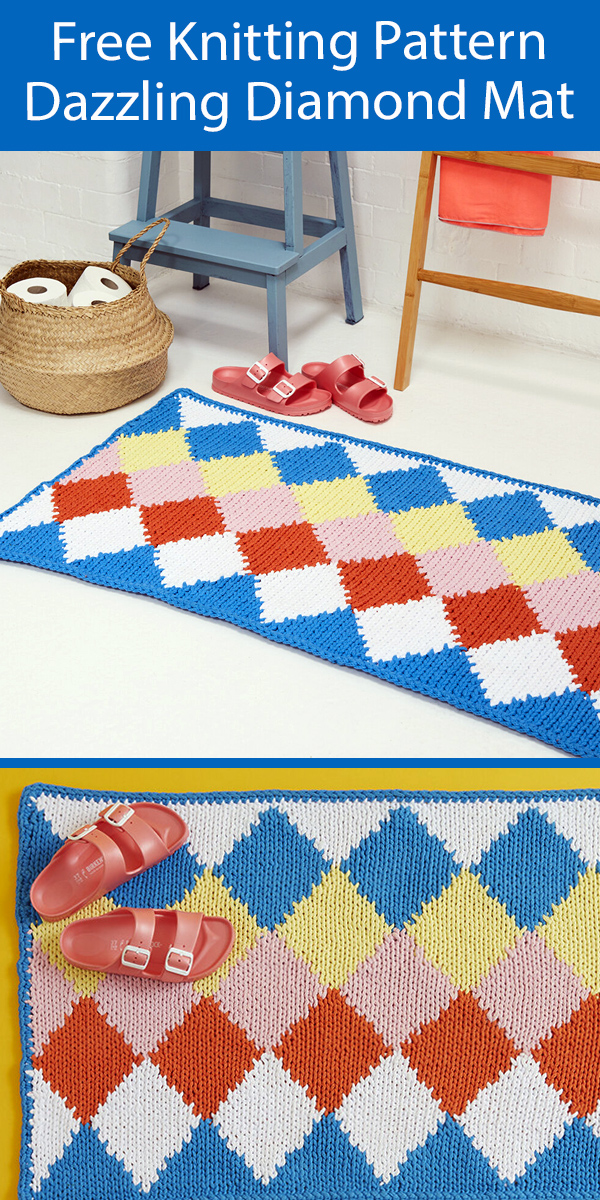 Free Rug Knitting Pattern Dazzling Diamond Bath Mat
