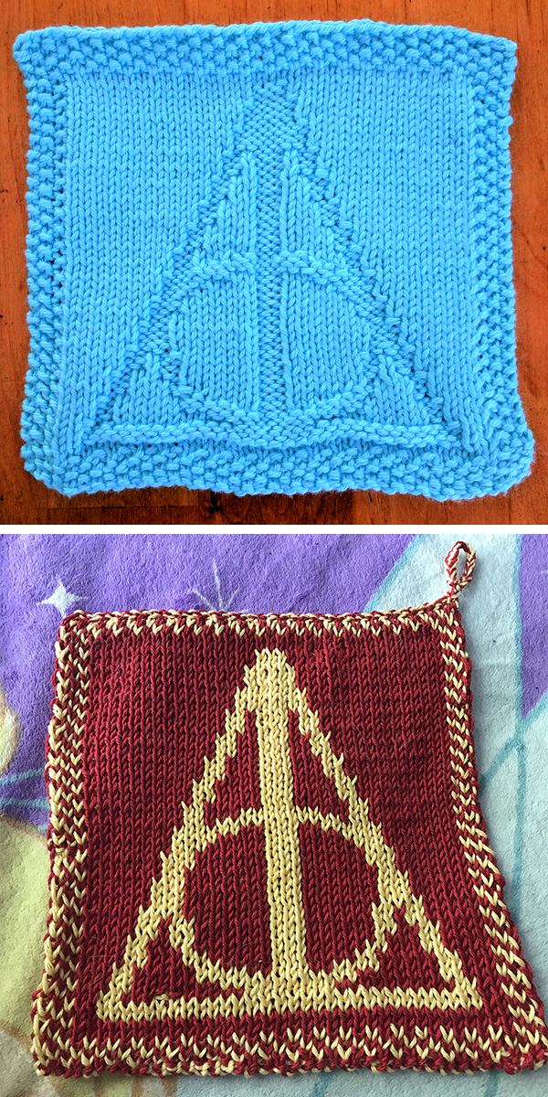 Free Knitting Pattern for Harry Potter Deathly Hallows Wash Cloth