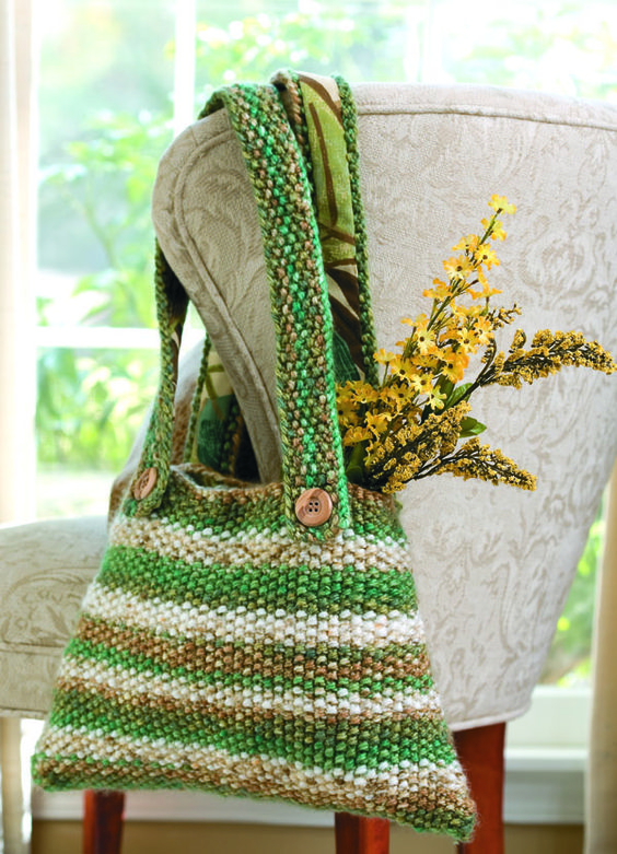 Free Knitting Pattern for Seed Stitch Striped Tote