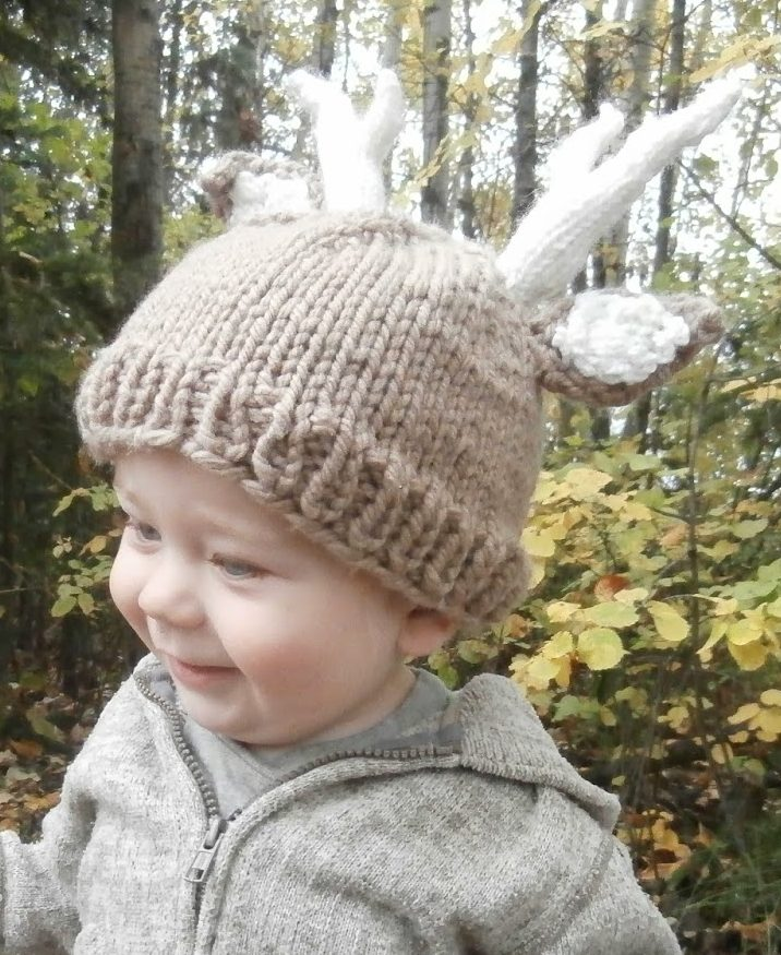 b2c1b2a0044 Free knitting pattern for Deer Baby Hat with antlers