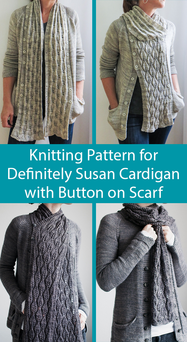 Knitting Pattern for Definitely Susan Cardigan With Button On Scarf