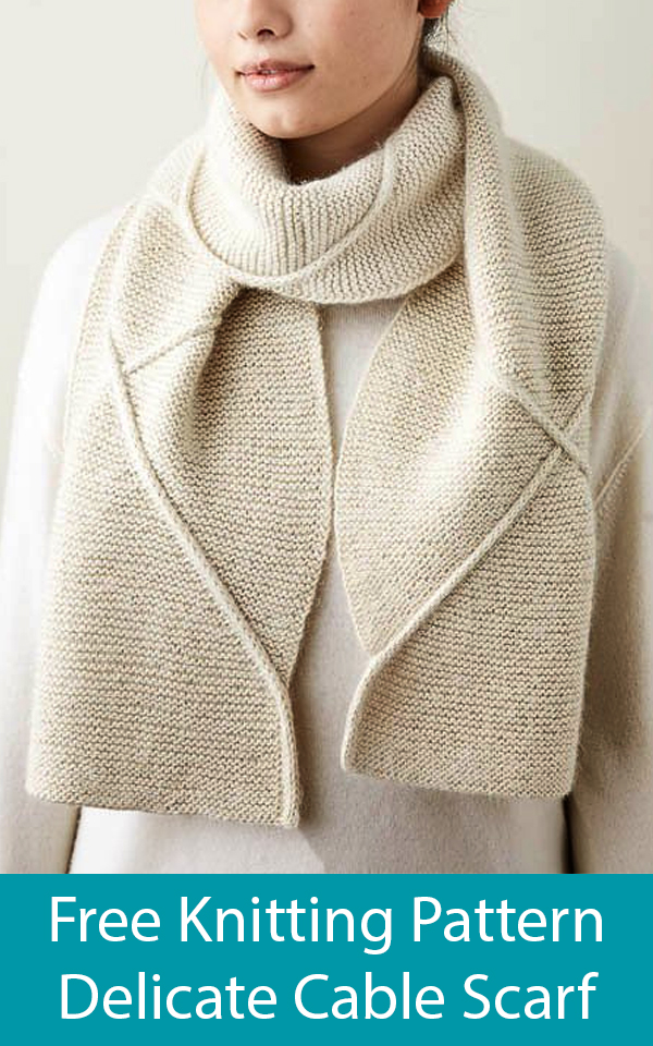 Free Knitting Pattern for Delicate Cable Scarf
