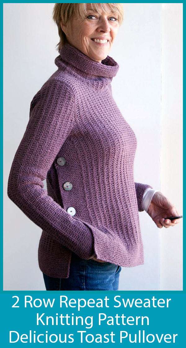 Easy Knitting Pattern for 2 Row Repeat Delicious Toast Sweater