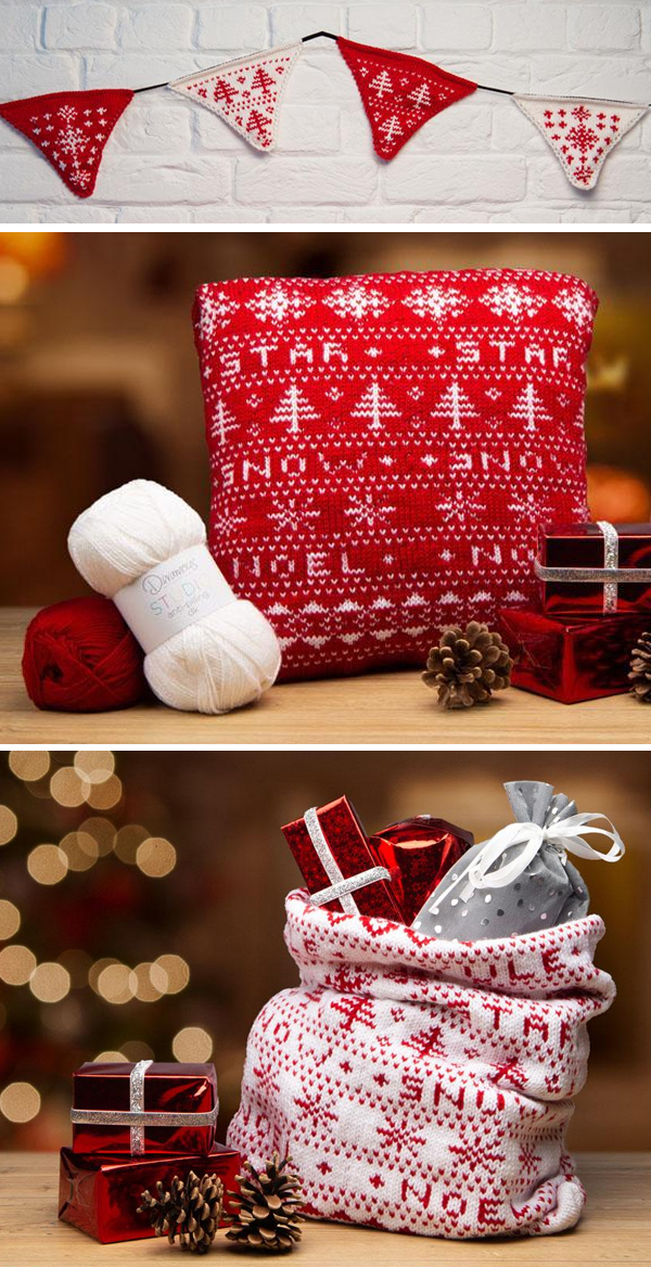 Knitting Pattern for Christmas Bunting, Cushion, and Santa Bag