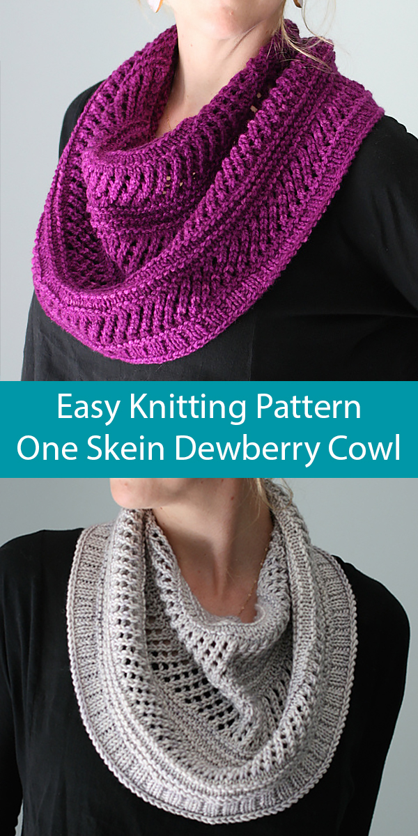 Knitting Pattern for Easy One Skein Dewberry Cowl