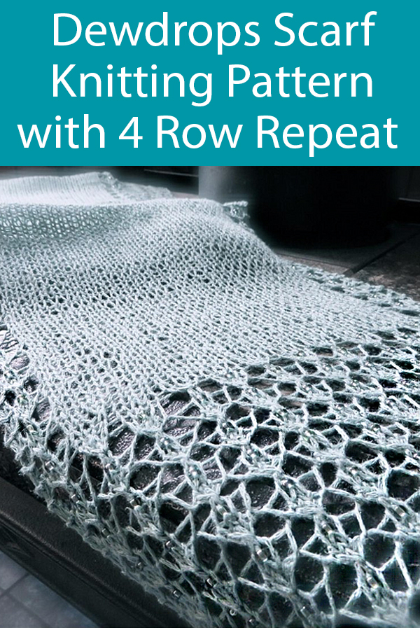 Knitting Pattern for 4 Row Repeat Dewdrops Scarf