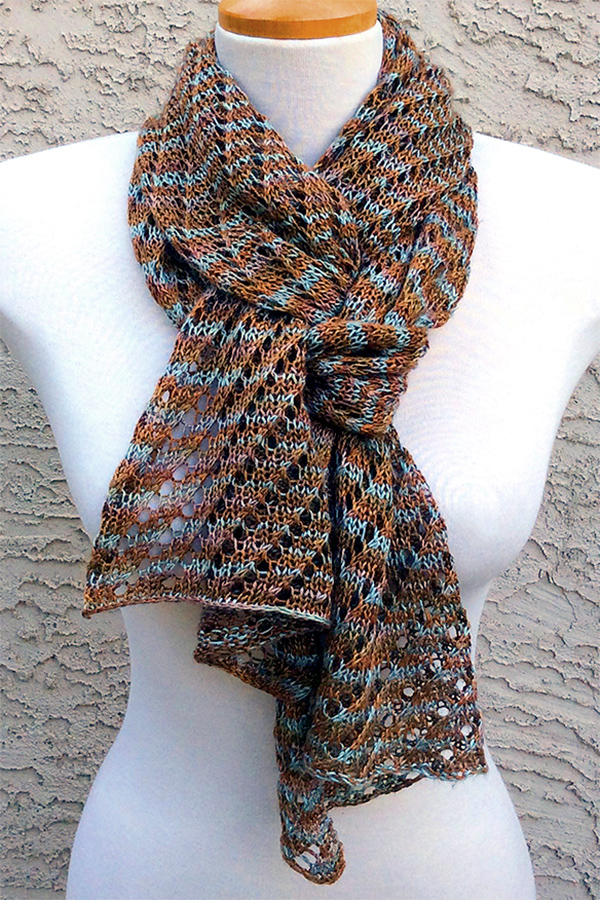 Free Knitting Pattern for One Skein Diagonal Lace Scarf