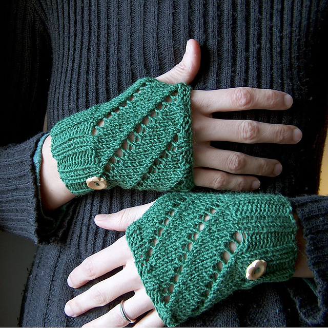 Free knitting pattern for Diagonal Eyelet Hand Warmers