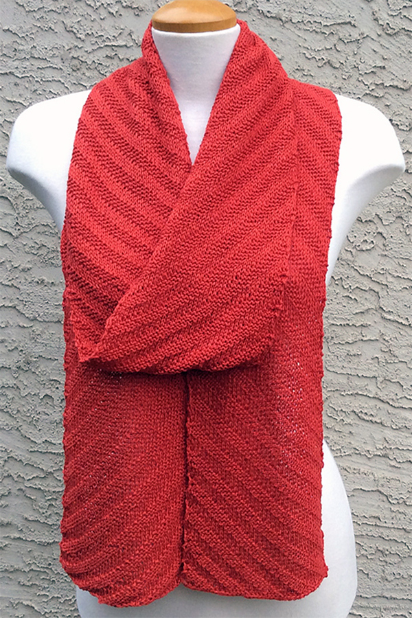 Free Knitting Pattern for Diagonal Line Scarf