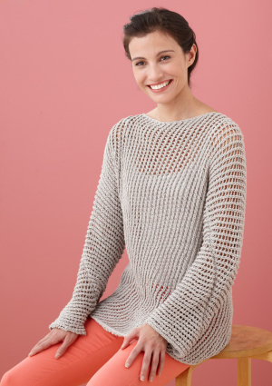 a48971213 Diagonal Mesh Lace Pullover Sweater Free Knitting Pattern