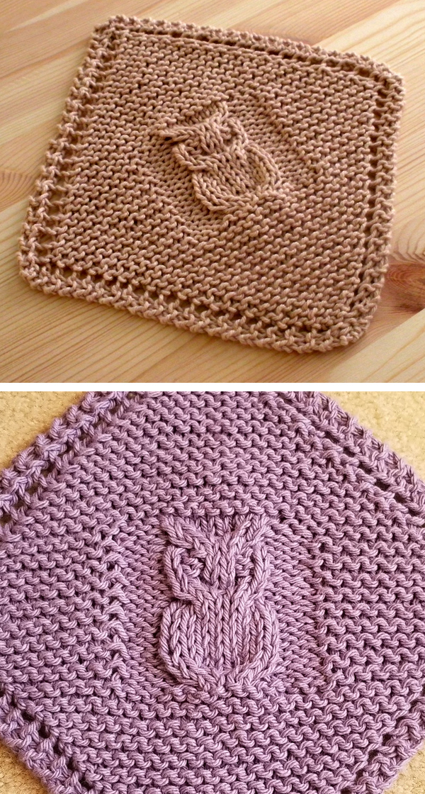 Free Knitting Pattern for Diagonal Owl Dishcloth