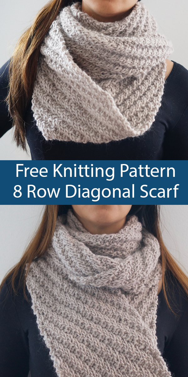 Free Knitting Pattern for 8 Row Repeat Diagonal Stripe Scarf