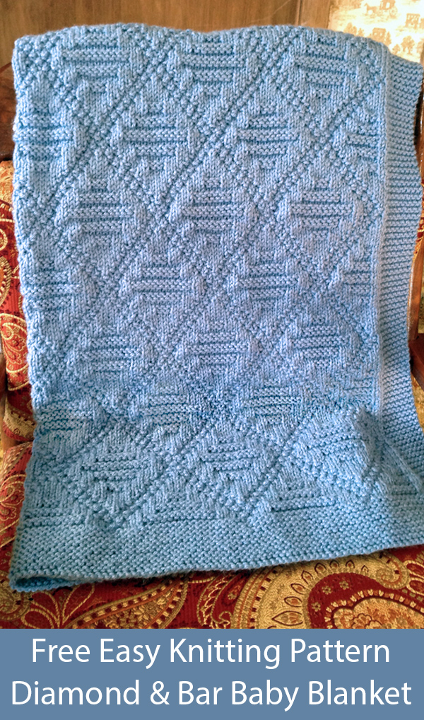 Free Knitting Pattern for Easy Reversible Diamond and Bar Baby Blanket