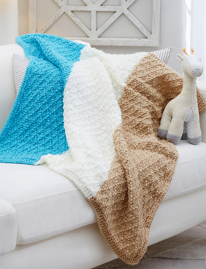 Free Knitting Pattern for Easy 6 Row Repeat Diamonds for Baby Blanket