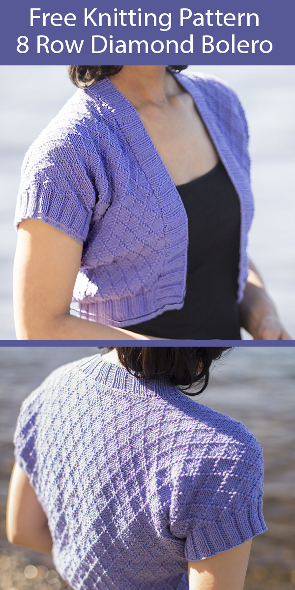 Free Knitting Pattern for Diamond Bolero Shrug in 8 Row Repeat