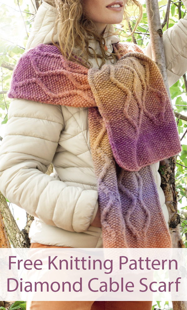 Free Knitting Pattern for Diamond Cable Scarf