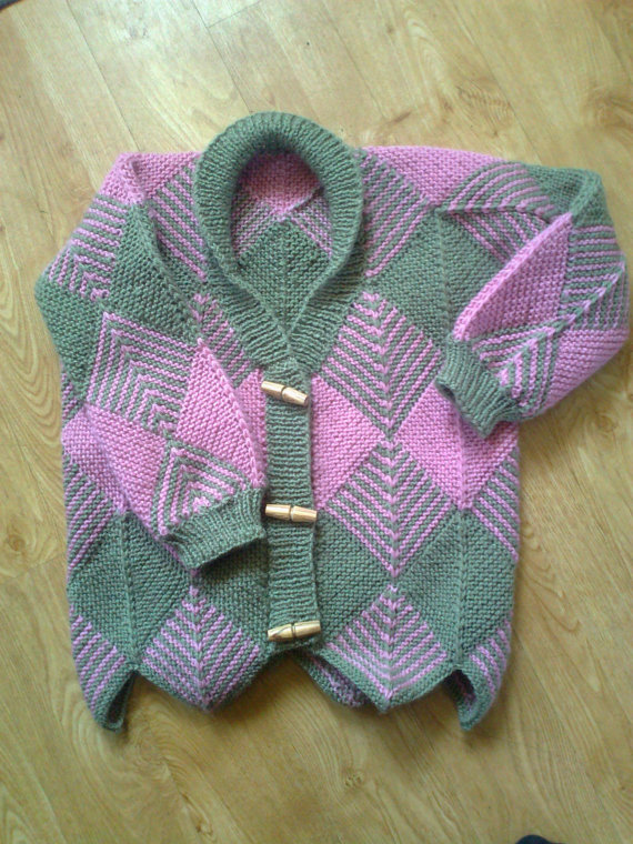 Knitting pattern for Child's Diamond Cardigan