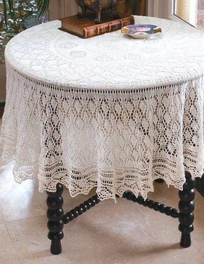 Knitting Pattern for Diamond Lace Table Topper or Shawl