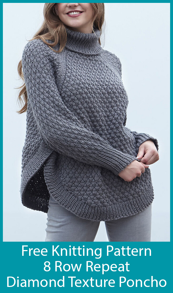 Free Knitting Pattern for 8 Row Repeat Diamond Texture Poncho