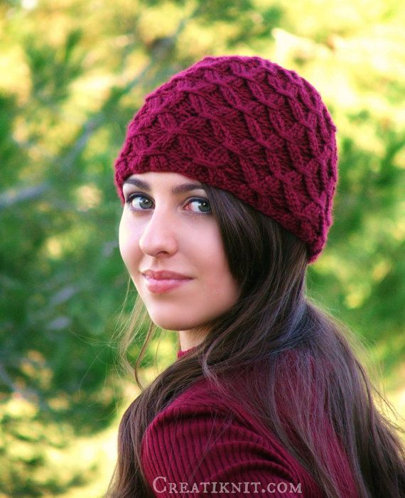 Knitting pattern for Diamond Weave Hat and more beanie knitting patterns