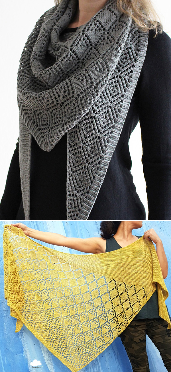 Knitting Pattern for Diamonds for Amélie Shawl