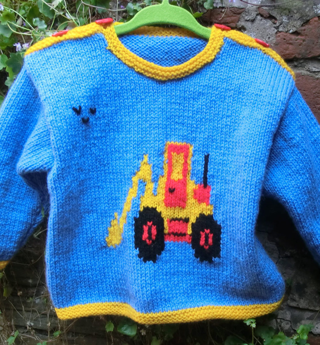 Knitting Pattern for Digger Motif Baby Sweater