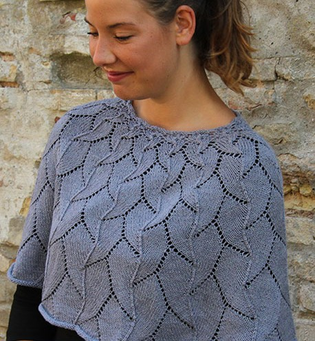Free knitting pattern for Digitalis cape poncho with all over lace pattern
