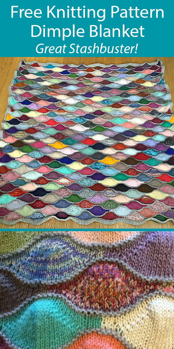 Free Knitting Pattern for Dimple Blanket Stashbuster Throw