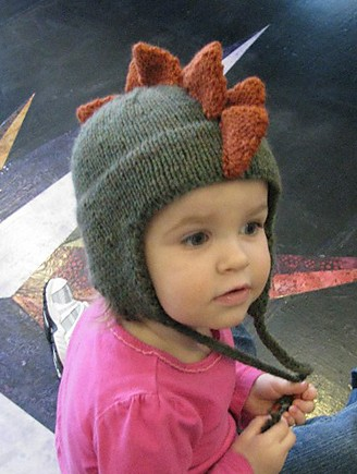 Free knitting pattern for Dino Cap dinosaur earflap hat with spines like a stegosaurus baby and toddler sizes