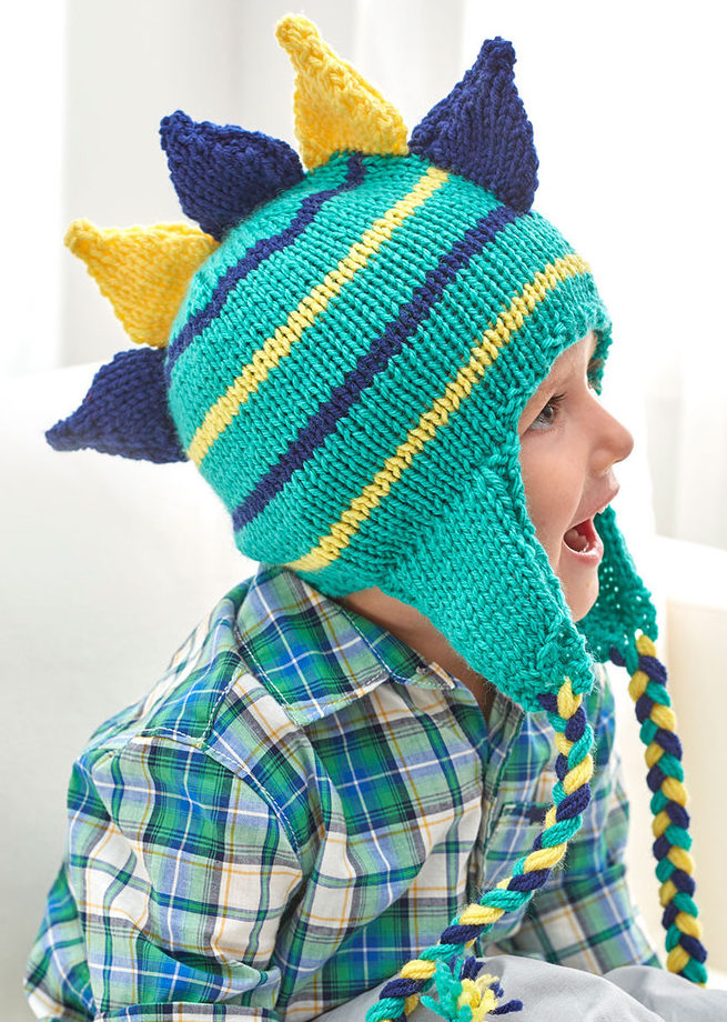 Free Knitting Pattern for Dino Stripe Hat