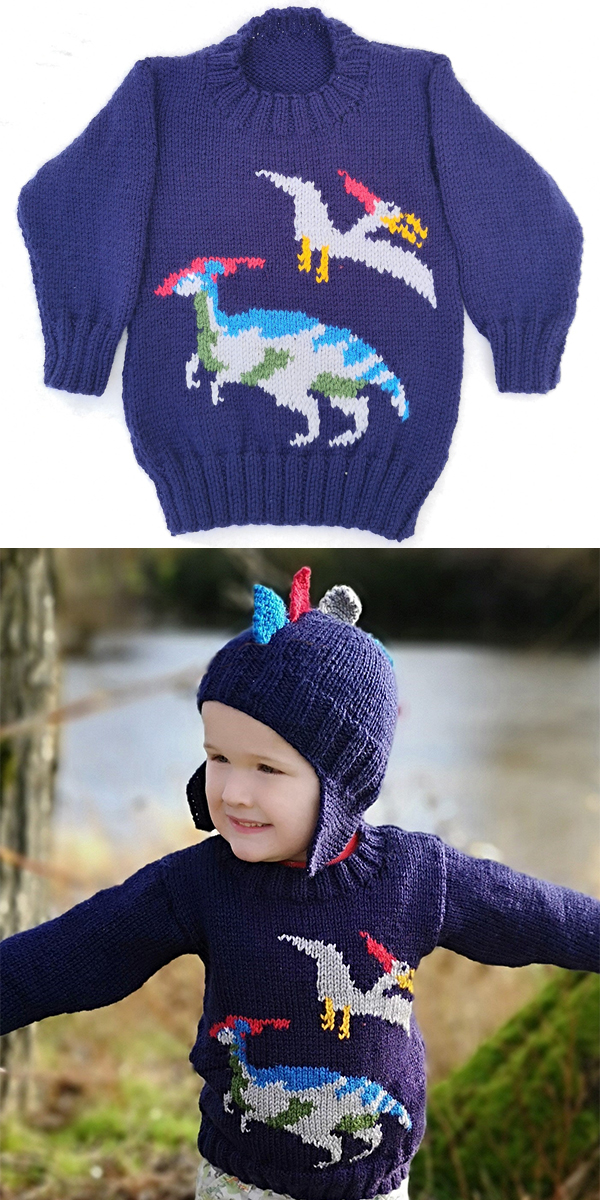 Knitting Pattern for Dinosaur Child's Sweater and Hat