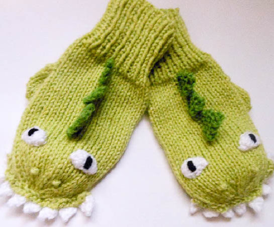 Knitting Pattern for Dinosaur or Dragon Mittens