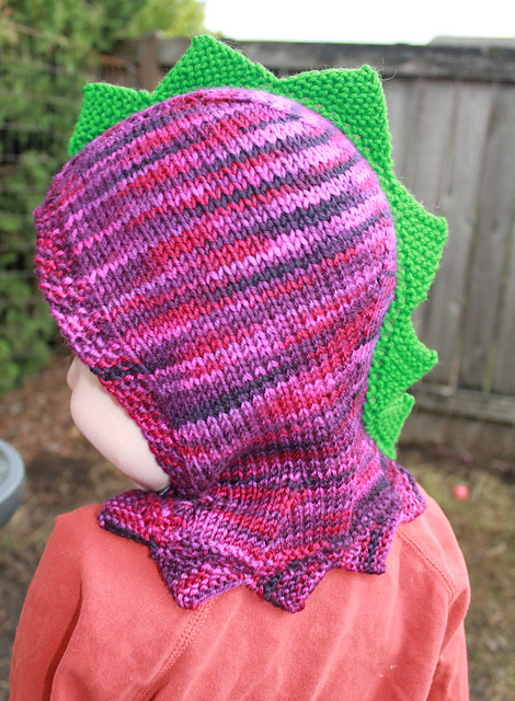 Free knitting pattern for Dinosaur Hood