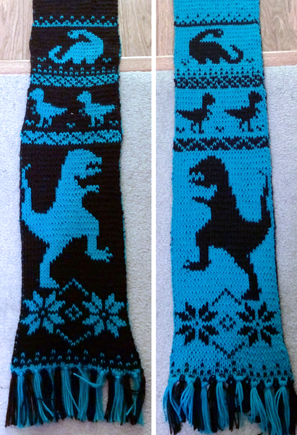 Free Knitting Pattern for Dinosaur Scarf