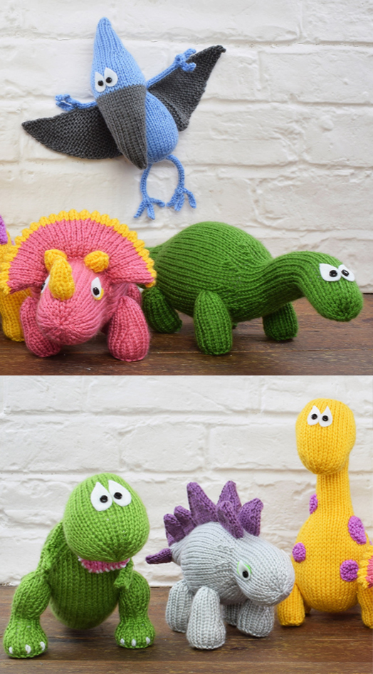 Toy Dinosaurs Knitting Kits with Patterns